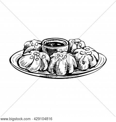 Baozi With Sauce On Plate. Vintage Vector Hatching Black Hand Drawn Illustration Isolated On White B