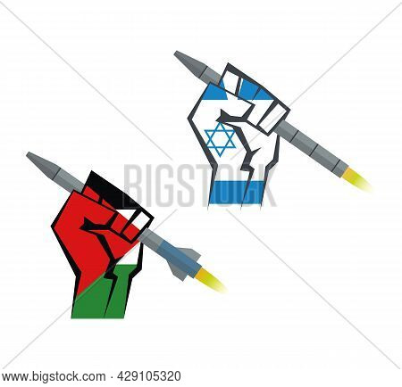 The Hand Is Holding A Rocket. Hand With The Flag Of Palestine And Hand With The Flag Of Israel Set.
