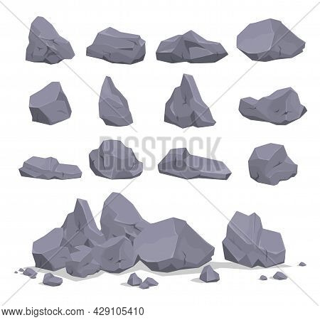 Collection Of Gray Cartoon Rock Stone Vector Flat Illustration Heavy Natural Mineral Geology Granite