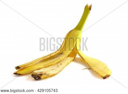 Banana Peel Isolated On White Background Close Up. Organic Material For Compost