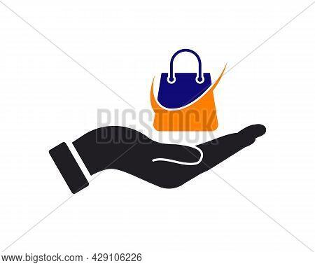 Hand Bag Logo Design. Bag Logo With Hand Concept Vector. Hand And Bag Logo Design