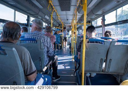 Eminonu, Istanbul, Turkey - 07.05.2021: Interior View Of A Municipality Public Bus With Passengers W