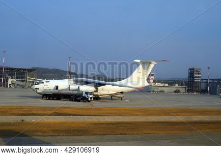 Russian heavy military transport aircraft Ilyushin Il-76 at the International Dalaman airport bring equipment for fiting with forest fires. 5 August 2021.Dalaman, Turkey