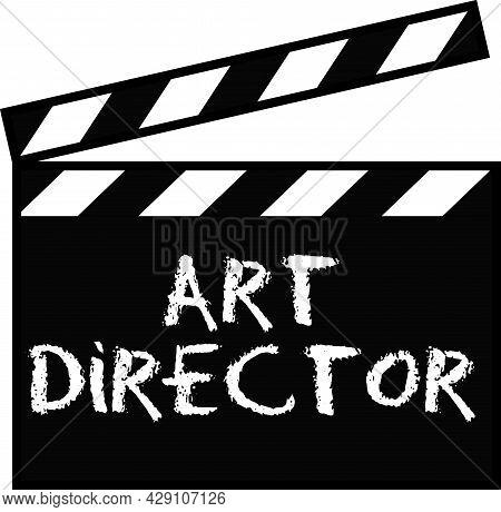 Art Director Sign Pictogram On White. Art Direction, Film Maker Clapperboard Icon.