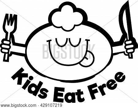 Kids Eat Free Black Sign. Funny Cartoonish Kid Face Licking Lips With Closed Eyes, Enjoying Good Foo