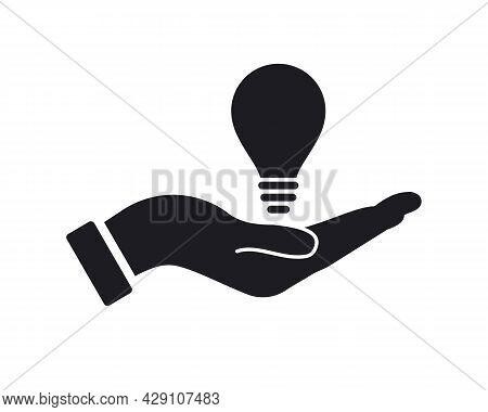 Hand Bulb Logo Design. Bulb Logo With Hand Concept Vector. Hand And Bulb Logo Design