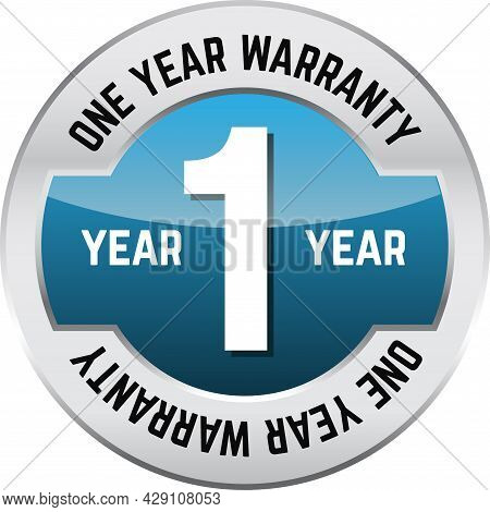 One Year Warranty Shiny Button. Bright Metal Shiny Circular Button With Words One Year Warranty On I