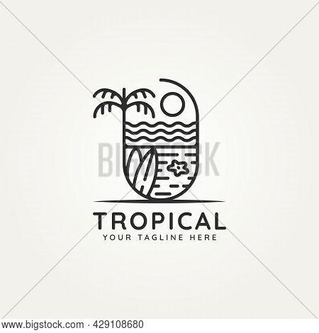 Tropical Beach Island Minimalist Line Art Badge Logo Badge Template Vector Illustration Design. Simp