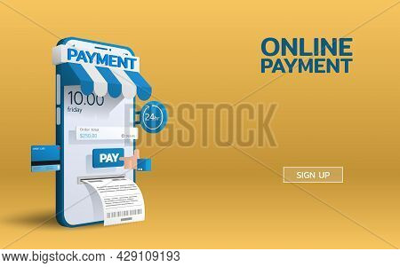 Payment Online Service On Smartphone Mobile With A Hand Push Pay Button And The Bill Comes Out. E-co