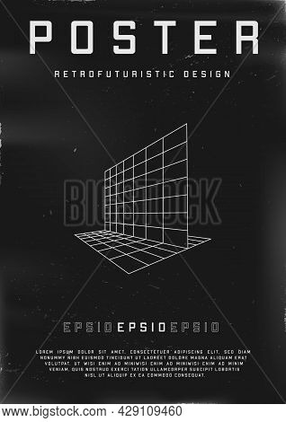 Retrofuturistic Poster Design With Perspective Grids. Cyberpunk 80s Style Poster With Perspective Fl
