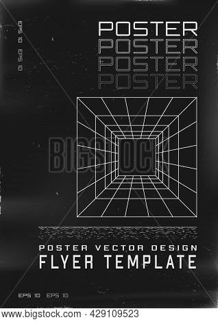 Retrofuturistic Poster Design. Cyberpunk 80s Style Poster With Perspective Grid Laser Tunnel. Shabby