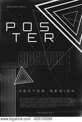 Retrofuturistic Poster Design. Cyberpunk 80s Style Poster With Triangle Shapes. Shabby Scratched Fly