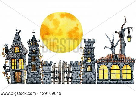 Gothic Castle Clipart, Halloween Horrible House. Hand Drawn Watercolor Illustration Isolated On Whit