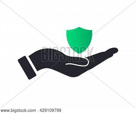 Hand Shield Logo Design. Shield Logo With Hand Concept Vector. Hand And Shield Logo Design