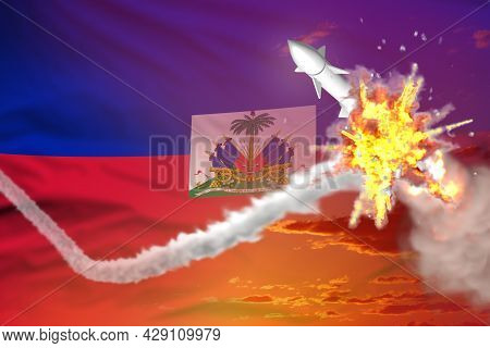 Strategic Rocket Destroyed In Air, Haiti Supersonic Missile Protection Concept - Missile Defense Mil