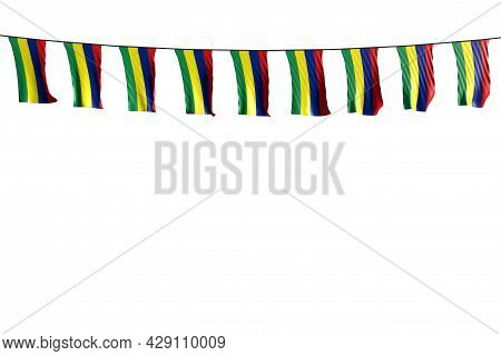 Beautiful Any Holiday Flag 3d Illustration  - Many Mauritius Flags Or Banners Hangs On Rope Isolated