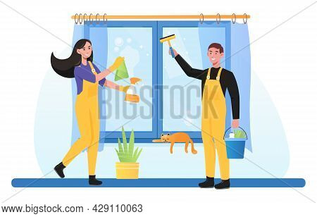Family Doing Housework Together. Spring Cleaning, Domestic Chores, Housekeeping Work, Washing Window