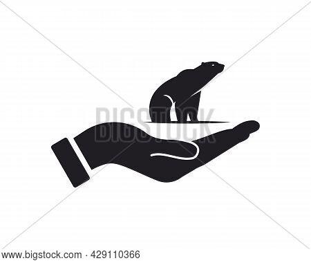 Hand Bear Logo Design. Bear Logo With Hand Concept Vector. Hand And Bear Logo Design