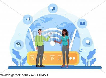 Global Outsourcing, Distant Work, New Digital Era Of Communication, Online Meeting. Flat Abstract Me
