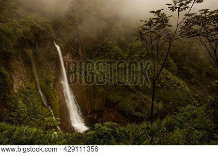 The Waterfall In Costa Rica Called Catarata Del Toro In The Rain Forest