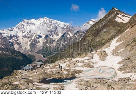 View Of Beautiful Lago Smeraldo And Monte Rosa In The Background In The Summer Season, Valle Anzasca