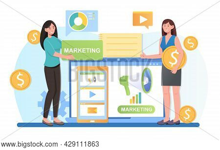 Content Manager At Work Create Social Media Marketing Strategy Process For Client. Public Relation D
