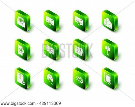 Set Received Message Concept, Envelope Setting, Outgoing Mail, Mail Box, Postal Stamp, And E-mail An