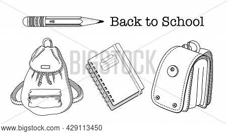 Back To School Coloring Page .set Of Childish School Supplies Vector Illustrations. Backpack, School