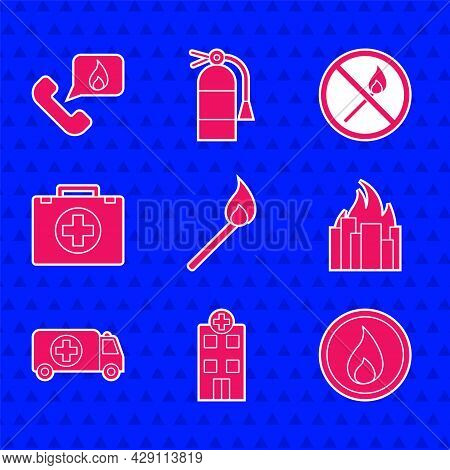 Set Burning Match With Fire, Medical Hospital Building, Fire Flame, Burning Buildings, Ambulance And