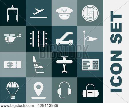Set Suitcase, Airport Board, Cone Meteorology Windsock Wind Vane, Pilot Hat, Runway, Helicopter, Met