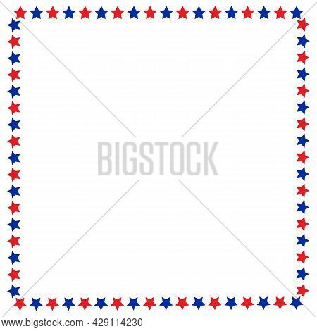 American Flag Stars Symbols Border Frame Poster Design Template With Blank Space For Text.