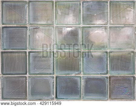 Dirty Old Window. Light Blue, Green And White Matte Glass Surface Background