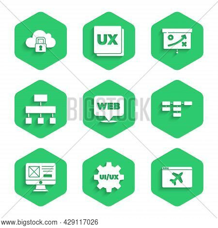Set Web And Graphic Design, Ui Or Ux, Website Template, Site Map, Planning Strategy Concept And Clou
