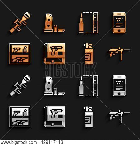 Set Book With Pistol Or Gun, Shop Weapon In Mobile App, Submachine M3, Weapons Oil Bottle, Hunting S