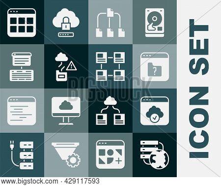 Set Network Cloud Connection, Cloud Technology Data Transfer, File Missing, Folder Tree, Server, Dat