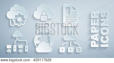 Set Social Network, File Document, Computer, Cloud Technology Data Transfer, Computing Lock And Icon