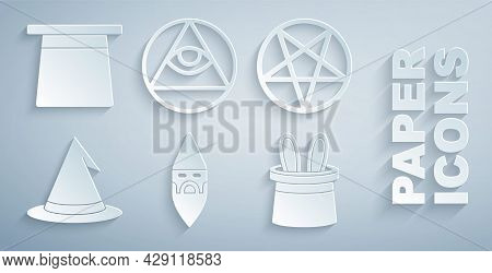 Set Wizard Warlock, Pentagram In Circle, Witch Hat, Magician And Rabbit Ears, Masons And Icon. Vecto
