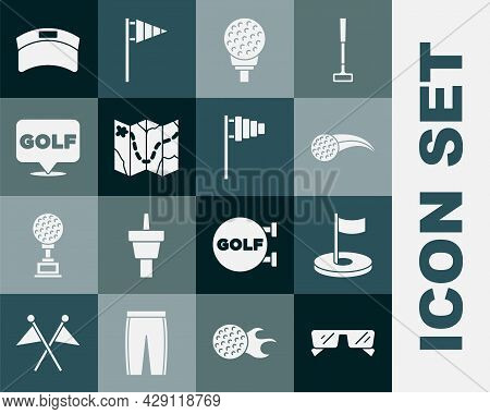 Set Glasses, Golf Hole With Flag, Ball, On Tee, Course Layout, Label, Sun Visor Cap And Icon. Vector