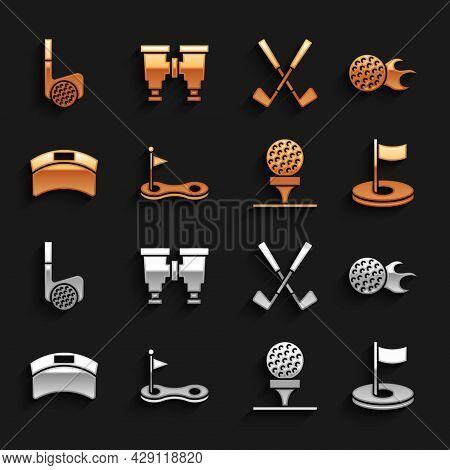 Set Golf Hole With Flag, Ball, On Tee, Sun Visor Cap, Crossed Golf Club, And Binoculars Icon. Vector