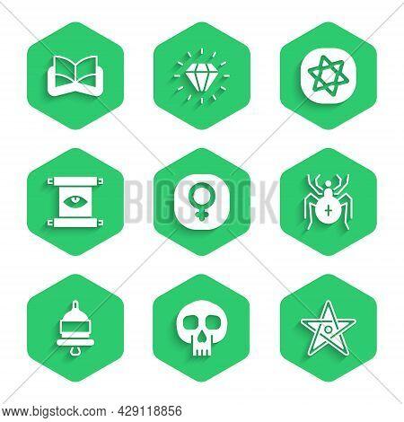 Set Venus, Skull, Pentagram, Spider, Ringing Alarm Bell, Ancient Magic Scroll, Tarot Cards And Book