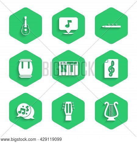 Set Music Synthesizer, Guitar, Ancient Lyre, Treble Clef, Note, Tone, Drum, And Drum Sticks And Icon