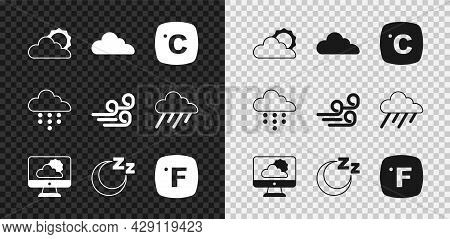 Set Sun And Cloud Weather, Cloud, Celsius, Weather Forecast, Time To Sleep, Fahrenheit, With Rain An