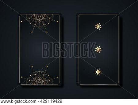 Set Magical Tarot Cards, Gold Magic Occult Sacred Geometry Sign, Esoteric Boho Spiritual Symbols, Fl