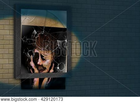 A Woman In Anguish Is Seen Inside A Picture Frame With Broken Glass From Urban Violence In This 3-d