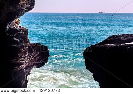 View From The The Caves Of Hercules In Cape Spartel, Morocco. Is An Archaeological Cave Complex Near