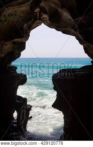 View Of The The Caves Of Hercules In Cape Spartel, Morocco. Is An Archaeological Cave Complex Near A
