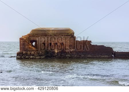Ruins Of The Western Fort On The Baltic Sea Coast Of The Vistula Spit. The Fort Was Built In 1869-18