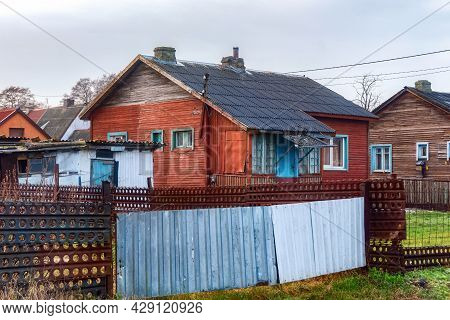 Old Wooden Typical Houses In The Settlement Of Kosa On The Vistula Spit Near Baltiysk, Russia
