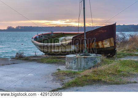 Old Fishing Boat Near The Vistula Lagoon