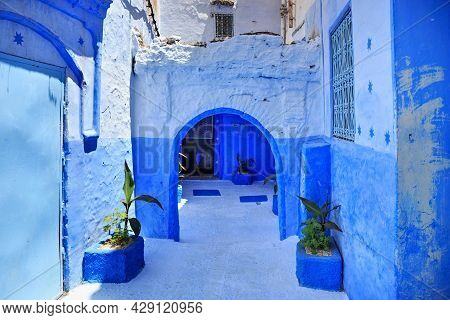 View Of The Blue Walls Of Medina Quarter In Chefchaouen, Morocco. The City, Also Known As Chaouen Is